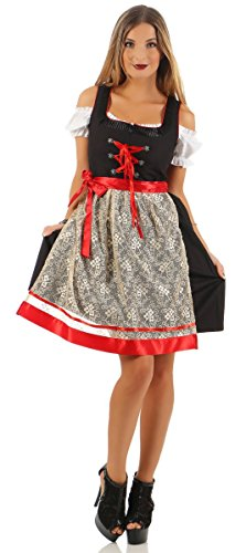 Fashion4Young Damen Dirndl Trachtenkleid 3 TLG. Minibluse Kleid Schürze Oktoberfest (L=40, schwarz-rot)