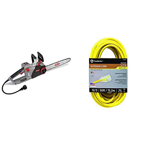 Oregon CS1500 18 in. 15 Amp Self-Sharpening Corded Electric Chainsaw & Southwire 2588SW0002 Outdoor Extension Cord- 12/3 American Made SJTW Heavy Duty 3 Prong Extension Cord ( 50 Foot- Yellow)