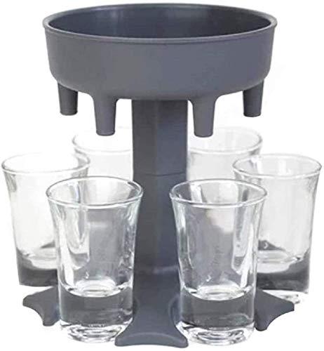 6 Shot Glass Dispenser and Holder, Carrier Caddy Liquor Dispenser Party Gifts Drinking Games Shot Glasses for Liquor, Scotch, Bourbon, Vodka, Cocktail Shot Dispenser (Grey)