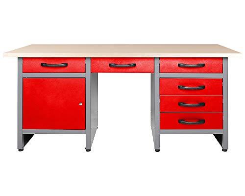 Ondis24 Werkbank 160 cm rot mit 6 Schiebern und Tür abschließbar Werktisch für Werkstatt Holz Arbeitsplatte