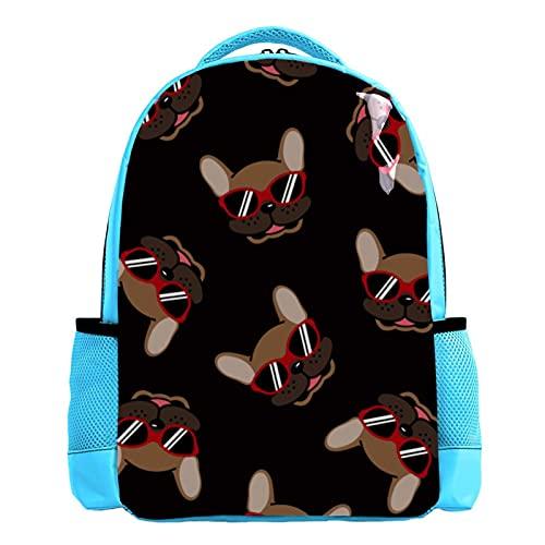 YATELI Mochila ligera para la escuela,Gafas de sol Bulldog French Dog , Mochila informal clásica básica resistente al agua para viajes con bolsillos laterales para botellas