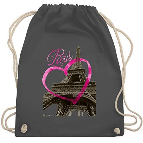 Shirtracer Städte - I love Paris - Unisize - Dunkelgrau - sportbeutel mädchen - WM110 - Turnbeutel und Stoffbeutel aus Baumwolle