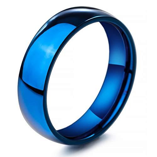 MunkiMix Ancho 6mm Acero Inoxidable Anillo Ring Banda Venda Azul Alianzas Boda Talla Tamaño 17 Hombre,Mujer