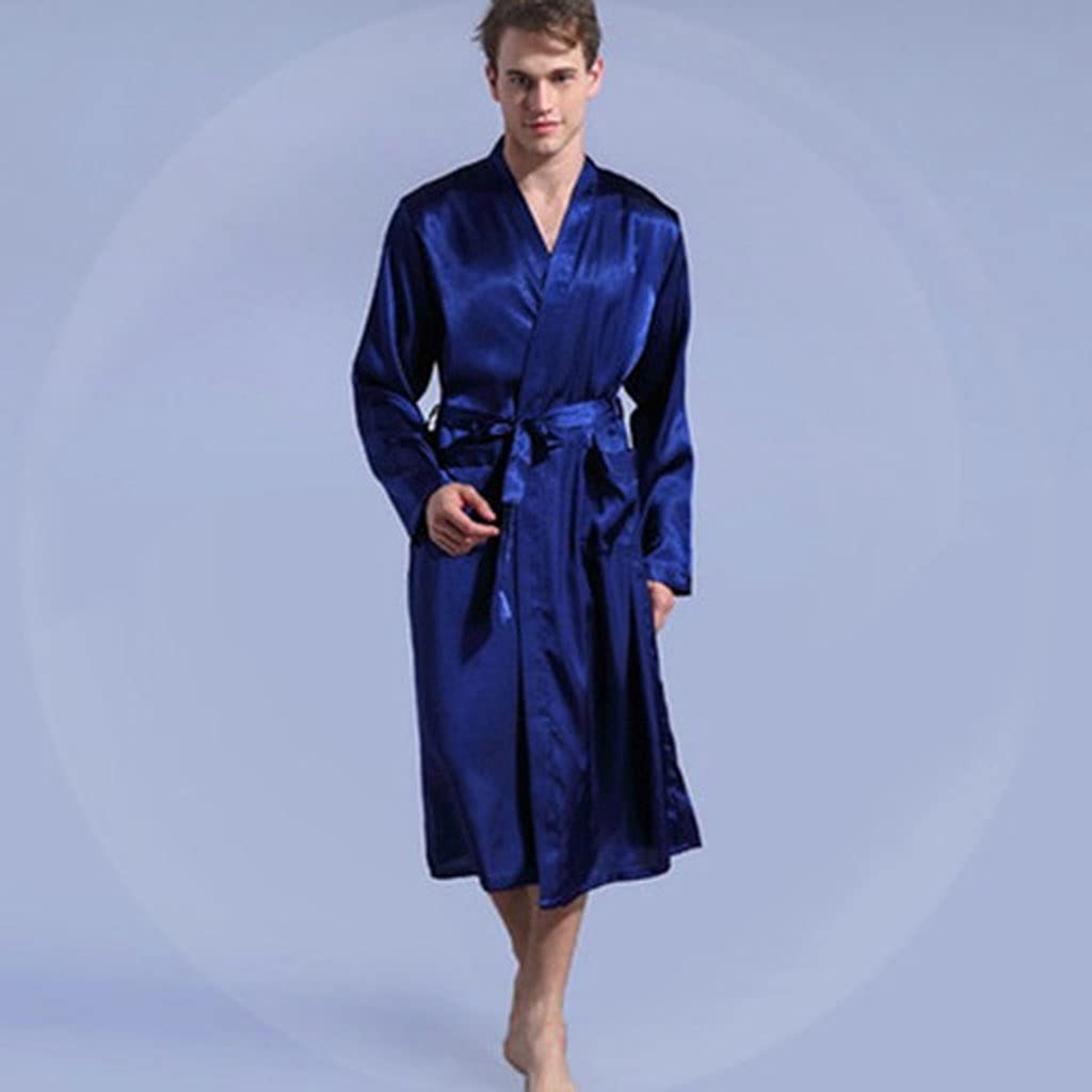DEWUFAFA Leisure Men's Sleepwear Robe Gown Solid Kimono (Color : Blue, Size : Large)