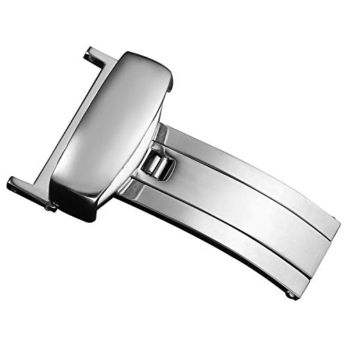 18 millimetri guardare fibbia di distribuzione singola piega fibbia in acciaio inossidabile chiusura orologio d'argento per il cinturino in pelle