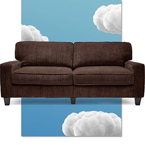 """Serta Palisades Upholstered Sofas for Living Room Modern Design Couch, Straight Arms, Soft Fabric Upholstery, Tool-Free Assembly - 78"""" Sofa - Brown"""