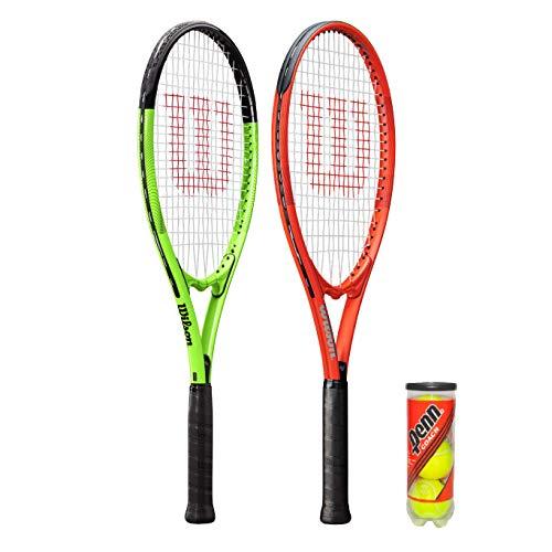 2 x Wilson XL Tennis Rackets Red Green 3 Tennis Balls