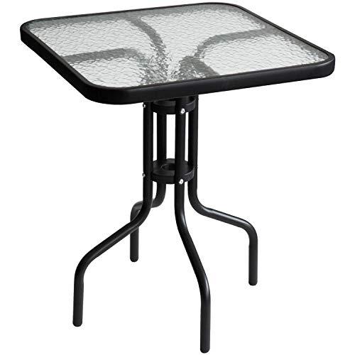 Wohaga Bistrotisch 60x60xH70cm mit geriffelter Glasplatte, Schwarz, Glastisch Beistelltisch Balkontisch Gartentisch