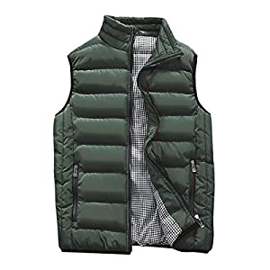Men's Outdoor Casual Stand Collar Outwear Padded Vest Coats
