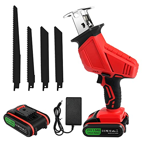 WFCC Cordless Reciprocating Saw, 21V Cordless Saw with 1x Li-ion Battery, Variable Speed Electric Saw, 4 PCS Saw Blades Ideal for Wood and Metal Cutting