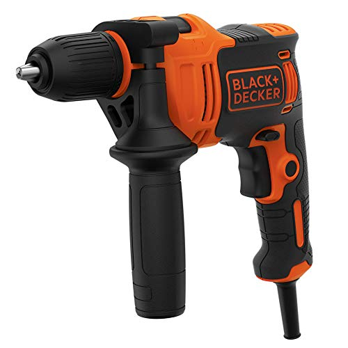 Black & Decker BEH550 klopboormachine met 1 versnelling, klopboor, 13 mm snelspanboorhouder, constante rechts-/linksloop, rubberen grip, dubbele handgreep, incl. HSS-boor, 1x steenboor)