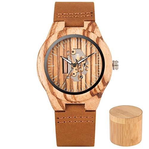 Señora Relojes de Madera Reloj de Pulsera de Cuero de Cuarzo Grabado de Moda Dial Hueco Reloj Casual para Mujer Reloj de Madera Natural para Mujer con Caja de bambú