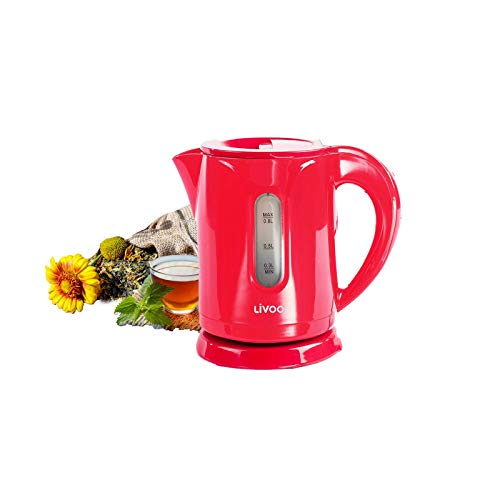 Kleiner Wasserkocher 0,8 Liter Kabellos Edelstahl Heizelement 1100 Watt Camping (Überhitzungsschutz, Automatische Abschaltung, Sicherheitsklappdeckel, Rot)