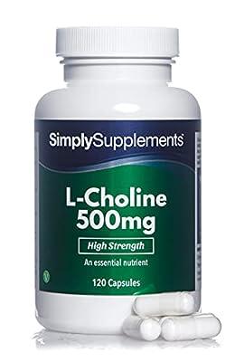 Choline Bitartrate Capsules | Super Strength 500mg Formula Supplement | 120 Capsules = 2 Month Supply | Vegan & Vegetarian Safe
