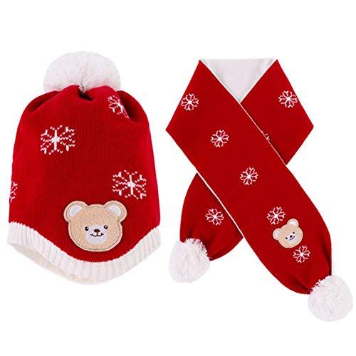 GenericBrands 2PCS Conjunto de Bufanda de Gorro de Punto para bebés pequeños, Gorro de Invierno cálido con Orejas y Bufanda, Calentador de Cuello con patrón de Copo de Nieve para Navidad