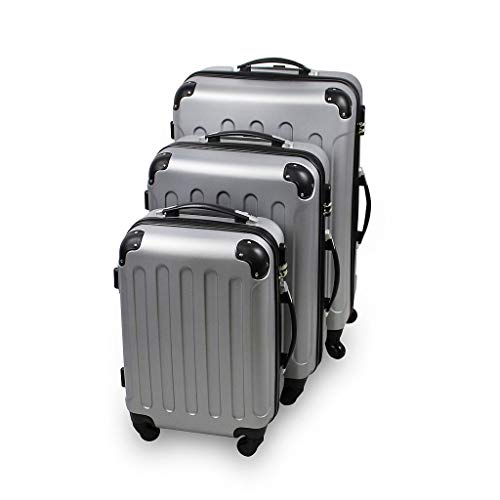 Juego de Maletas, Material: Plástico ABS - 4 ruedas de rotación de 360 ° - Esquinas protegidas, 51 61 71 cm, Plateado, ABS