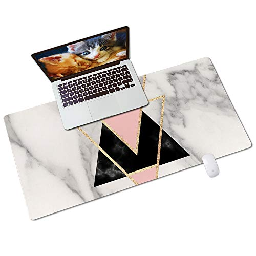 Colorful Star PU Leather Desk Pad for Keyboard and Mouse - 31.5' x 15.7' Full Desk Mouse Pad Large Gaming Pad Desktop Mat Non-Slip Desk Blotter Pad for Office & Home - Triangles On Marble
