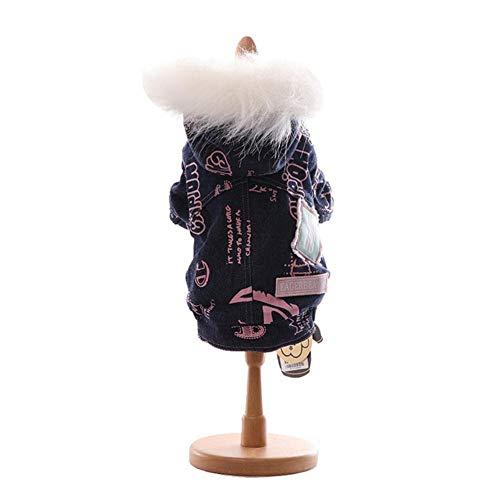 Otoño e invierno, color azul, tallas S-XXL Super cálido y cómodo, ropa de dos pies para mascotas de algodón acolchado grueso para invierno, azul marino, M.
