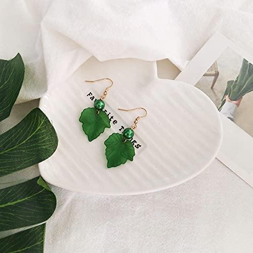 FEARRIN Pendientes Vintage Rhinestone Stud Blanco Naranja Verde Pendientes de Verano Hojas Simples Pendientes de Hoja de Arce SalvajePendientes Accesorios de Mujer Verde