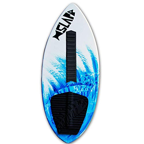 """Slapfish Skimboards USA Made 52"""" Fiberglass & Carbon - No Rider Weight Limit - with Traction Deck Grip - Kids & Adults - 4 Colors (Blue Board with Arch Bar)"""