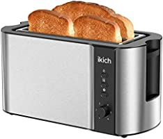 IKICH Toaster 2 Long Slot, Toaster 4 Slice Stainless Steel, Warming Rack, 6 Browning Settings, Defrost/Reheat/Cancel,...