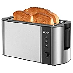 Save your time up to Long Slot Toaster: IKICH Long Shot Toaster, One time for 4 Slices, such as muffins, sandwich bread, pullman loaf, ect. Or sometimes 2 Pieces of Longer & Larger breads, such as artisan breads, sourdough breads. More Favor Choice w...