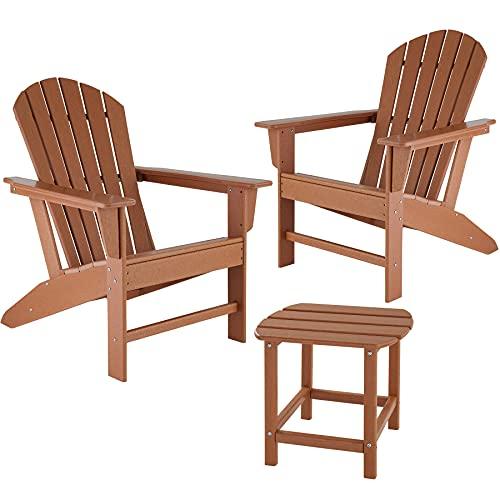 TecTake 2er Set Adirondack Gartenstuhl mit Beistelltisch, Holzoptik, Gartensessel mit Breiten Armlehnen und Tisch, für Garten, Terrasse und Balkon, wetterfest (Braun)
