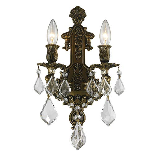 "Worldwide Lighting W23315B12 Versailles 2 Light Crystal Wall Sconce, Antique Bronze Finish and Clear Crystal, Medium Fixture, 12"" W x 13"" H"