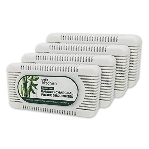 4 absorbe olores nevera de carbón de bambú para su refrigerador   Quita olores nevera ecológico (4 piezas)   Ambientador nevera hecho de bambú natural