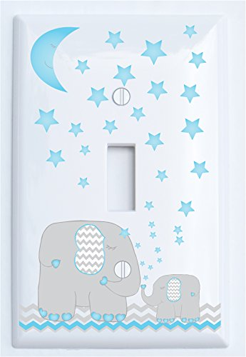 Blue Moon and Stars Elephant Light Switch Plate Cover with Grey Chevrons/Jungle Safari Nursery Wall Decor. (Single Toggle)