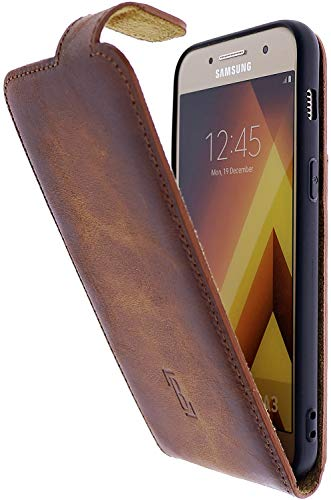 Burkley Handyhülle für Samsung Galaxy A3 2017 Hülle kompatibel mit Galaxy A3 2017 Handytasche Flip Case Schutzhülle mit Kartenfach (Antik Sattelbraun)