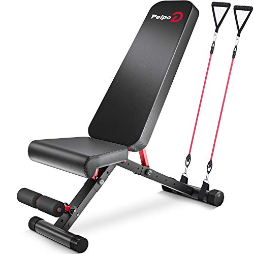 Pelpo Weight Bench for Full Body Workout Strength Training Bench Press in Home Gym Decline Incline Adjustable Utility Weight Bench with Fast Folding Black Frame