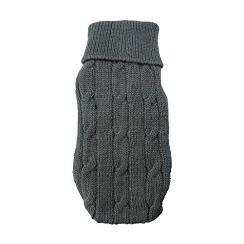 Sourcingmap Twisted Knit Rollkragen Winter Warm Bekleidung Pet Pullover, 2 X -small, grau de