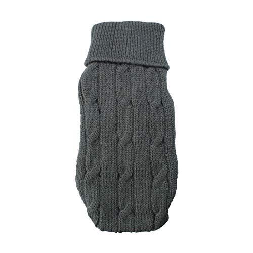 Sourcingmap Twisted Knit Rollkragen Winter Warm Bekleidung Pet Pullover, 2X -small, grau de