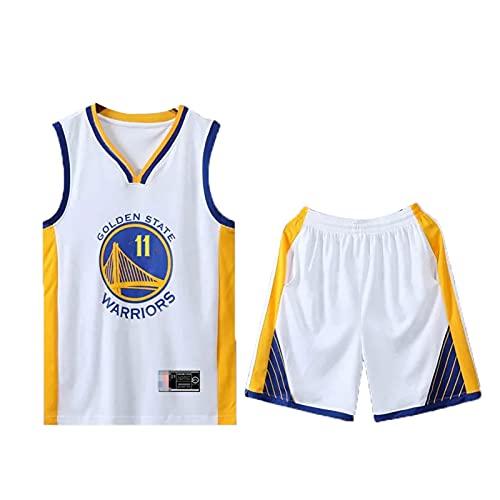 Jersey Retro de Baloncesto Retro de Thompson, Warriors No. 11 Retro Malla Jersey. White-L