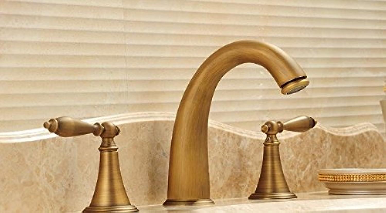 Bijjaladeva Wasserhahn Bad Wasserfall Mischbatterie Waschbecken Waschtisch Armatur Waschbeckenarmatur für BadezimmerBad Armatur antiken Warmes und Kaltes Wasser Waschtisch Armatur