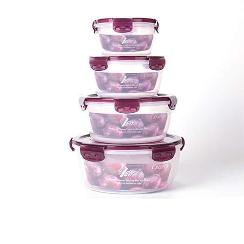 PrittUHU Contenedor de Almacenamiento de Alimentos con Tapas de plástico Alimentos de Comida Caja de Almuerzo Refrigerador A Prueba de Fugas Aparapo Easy Snap Block PP (Color : Y2332 Purple 4 Pcs)