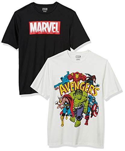 Amazon Essentials Disney Loose-Fit Crewneck Fashion-t-Shirts, 2-Pack Marvel Avengers, L, 2er-Pack