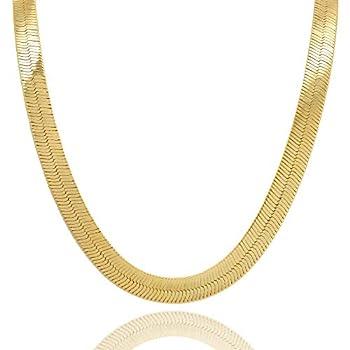 L & L Nation Mens Gold Tone 24  11mm Herringbone Chain Necklace