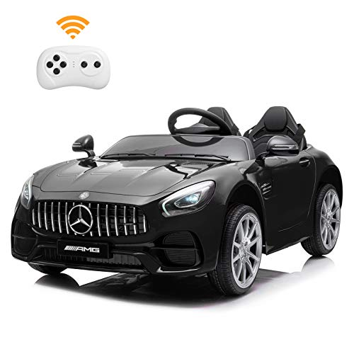 BAHOM 2 Seater 12V Electric Kids Ride On Car Toy Benz Licensed with Remote Control, 3 Speed, MP3, LED Lights, Wheels Suspension (Black)