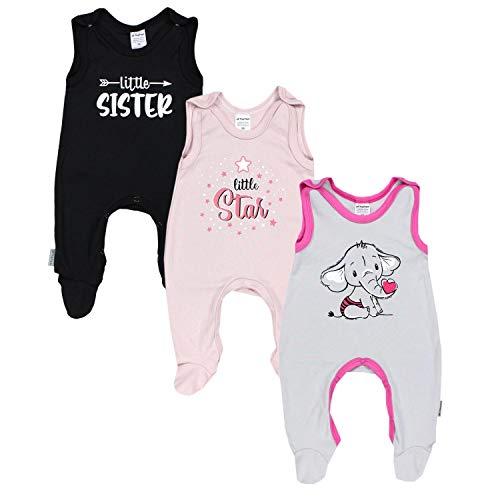 TupTam Baby Mädchen Strampler mit Aufdruck Spruch 3er Pack, Farbe: Farbenmix 3, Größe: 56