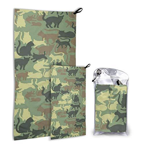 Lawenp Juego de Toallas de Viaje de Microfibra Catmouflage Cat, Paquete de 2 Grandes (37,5 x 55 Pulgadas, 16 x 32 Pulgadas) para Deportes, Caza, Remolque de Playa