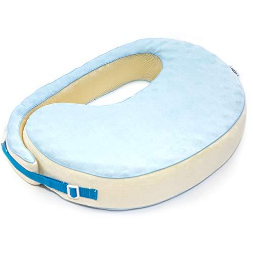 Vitabo amerikanisches Stillkissen mit Memory Schaum | ergonomisches Kissen zum Stillen | formstabiles Stillkissen zum Umschnallen | 55x40 cm (Hellblau/Creme)