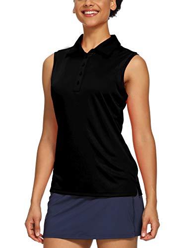 CQC Women's Golf Tennis Sleeveless Polo Shirts Quick Dry Athletic Tank Tops UPF 50+ Black L