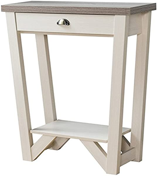 Furniture Of America IGA 1 Drawer Console Table In Ivory And Light Oak