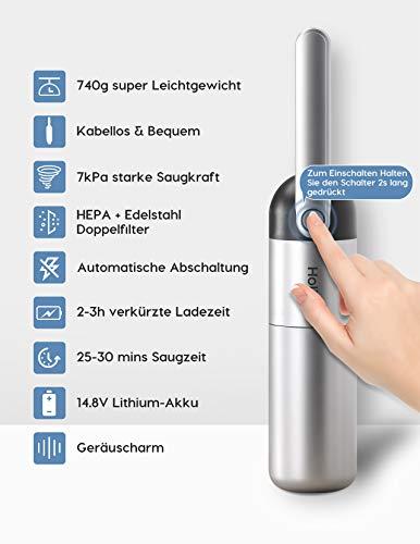 Holife Handstaubsauger Akku Beutellos, 14,8V 7000Pa Handsauger (Auto. Abschaltung, 750g, Doppel-Filtersystem: Edelstahl-& HEPA-Filter, 2-3h, Aufbewahrungsstation) für Autos Zuhause Küche Wohnmobil