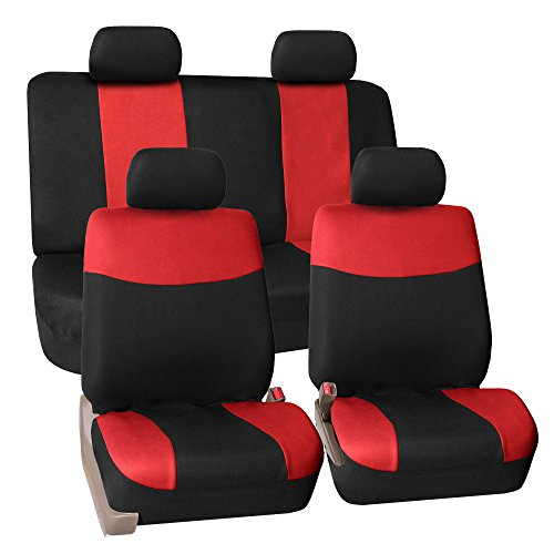 FH GROUP FB056RED114 Full Set Seat Cover (Universal Fit Modern Flat Cloth Red)