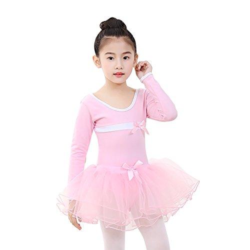 Hougood Kids Meisjes Ballet Jurk Lange Mouwen Een stuk Dans Training Bodysuits Panty Dans Kostuums met Organza Rok