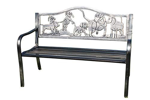 Metal Garden Bench with Cast Iron 'Puppies Design' Back Rest