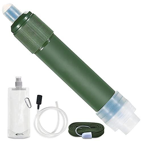 Shop-PEJ Sistema de filtración portátil de Paja de Filtro de Agua al Aire Libre Equipo de Supervivencia del purificador de Agua de 2 etapas for Acampar Senderismo (Color : Green)